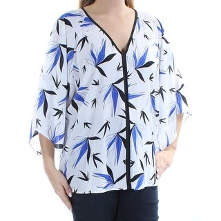 ALFANI $69 Womens New 1208 Blue Black Floral V Neck Kimono Sleeve Top 14 B+B