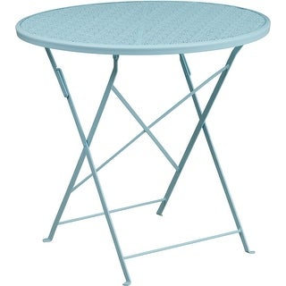 Westbury Round 30'' Sky Blue Steel Folding Table for Patio/Bar