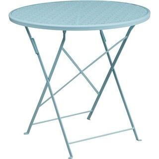 Westbury Round 30'' Sky Blue Steel Folding Table for Patio/Bar