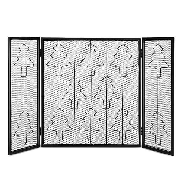 Costway Folding 3 Panel Steel Fireplace Screen Doors Heavy Duty Christmas Tree Decor