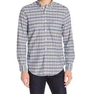 Nautica NEW Blue Plaid Mens Size Small S Button Down Shirt Cotton
