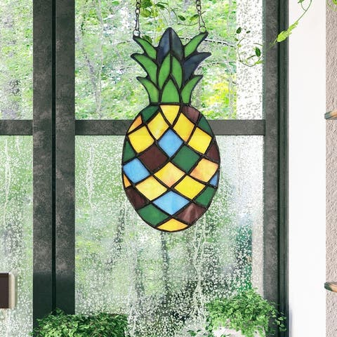 """River of Goods 8.5""""H Pineapple Vibes Stained Glass Window Panel - 4"""" x 0.5"""" x 8.5"""""""