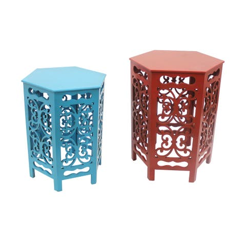 2 Piece Hexagonal Wooden Side Table with Cut Out Details, Red and Blue
