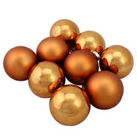 "9-Piece Shiny and Matte Copper Glass Ball Christmas Ornament Set 2.5"" (65mm)"