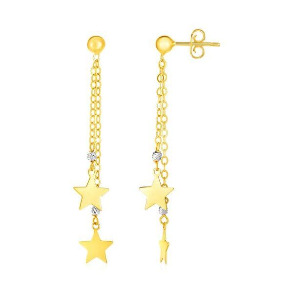14k Two Tone Gold Drop Earrings