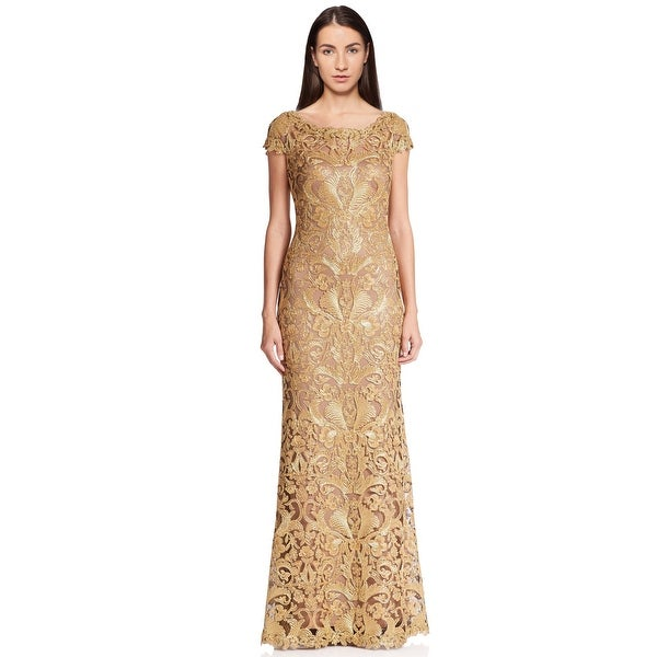 1f192475fa98d Shop Tadashi Shoji Cord Embroidered Lace Cap Sleeve Evening Gown ...
