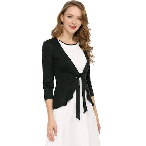 Women's Tie Front Ruffled Hem Crop Knit Cardigan - Black