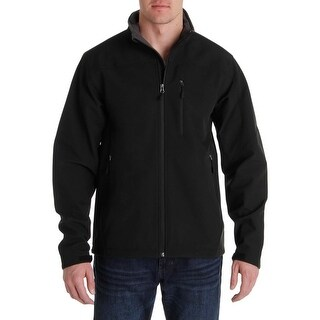 Tahari Mens Basic Jacket Fleece Trim Funnel Neck