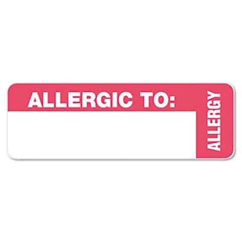 Tabbies Medical Labels for Allergy Warnings- 3 x 1- White- 175/Roll