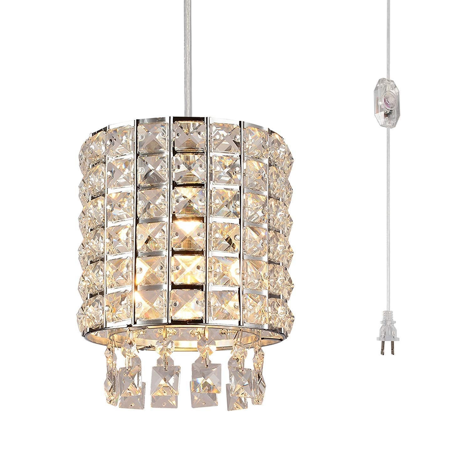 Modern Swag Crystal Dimmer Switch Plug In Pendant Light Overstock 27554294