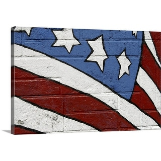 """USA flag, graffiti"" Canvas Wall Art"
