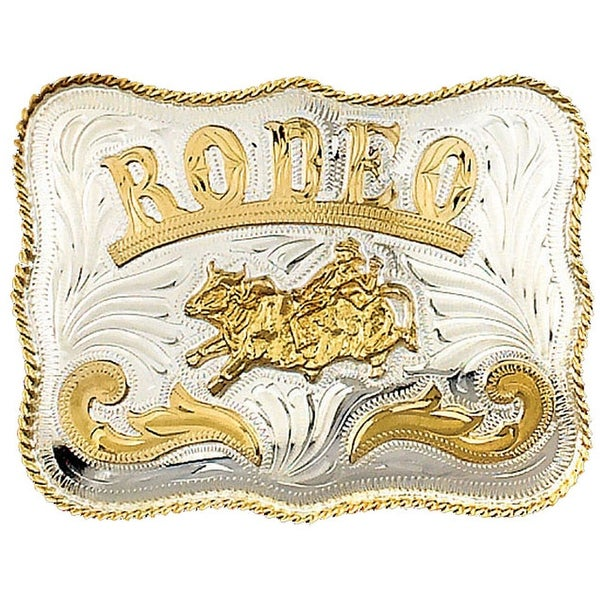 German Silver Tone and Gold Tone RODEO Belt Buckle with Bullrider Detail - One size