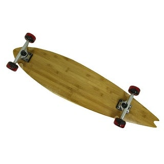 39 in. Bamboo Complete Split Tail Longboard w/Red Wheels - Brown