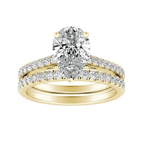 Ethical Sparkle 2 1/5ctw Lab Grown Pear-cut Diamond Engagement Ring Set 14k Gold