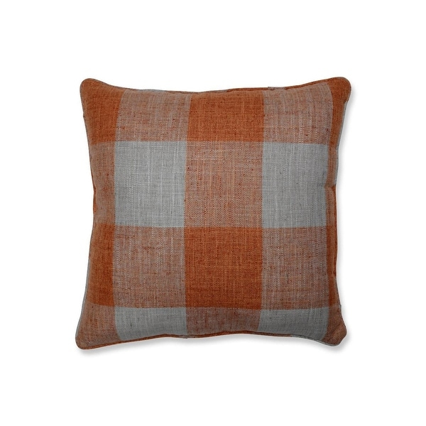 "18"" Orange Plaid Pattern Indoor Square Throw Pillow with Coordinating Trim"