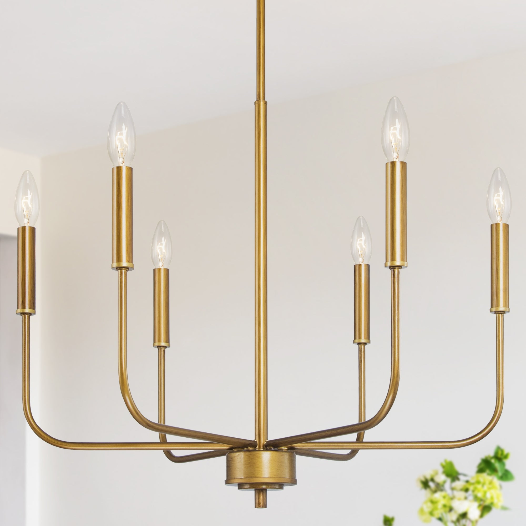Shop Mid Century 6 Lights Candle Chandelier Brass Gold Hanging Pendant Lighting For Kitchen Island Overstock 32221784