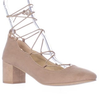 Wanted Shoes Abby Lace Up Ankle Tie Chunky Heel Pumps - Taupe