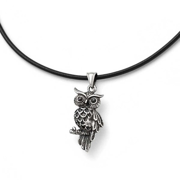 Chisel Stainless Steel Polished and Antiqued Owl with Black Crystals Necklace - 20 in