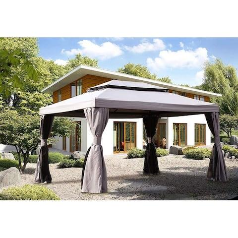 10x13Ft Square Pop-up Patio Gazebo Canopy Shelter