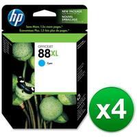 HP 88XL High Yield Cyan Original Ink Cartridge (C9391AN) (4-Pack)