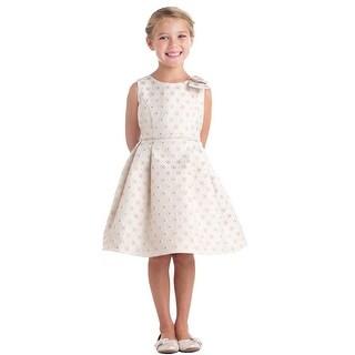 Sweet Kids Little Girls Champagne Circle Floral Stamp Jacquard Easter Dress