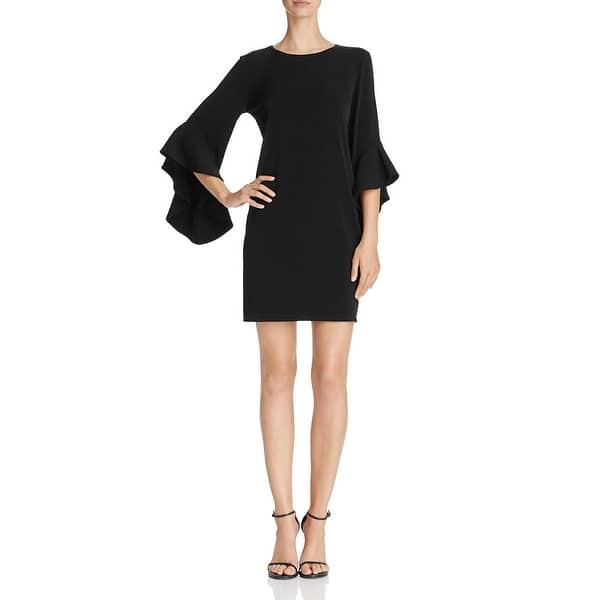 Laundry by Shelli Segal Women/'s Mesh Sleeve Fit-And-Flare Mini Flounce Dress
