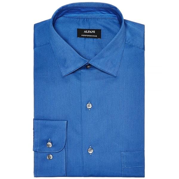 Alfani Blue Mens Size XL Regular Fit Stripe Performance Dress Shirt