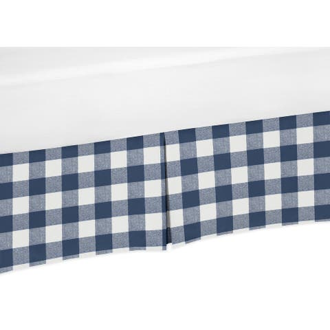 Navy Buffalo Plaid Check Collection Boy Crib Bed Skirt - Blue and White Woodland Rustic Country Farmhouse Lumberjack