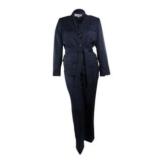 Le Suit Women's Blue Grotto Belted Pant Suit