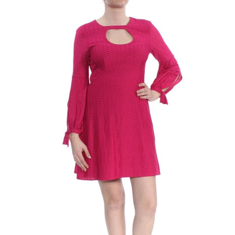 NANETTE LEPORE Womens Pink Cut Out Long Sleeve Above The Knee Fit + Flare Cocktail Dress Size: 8