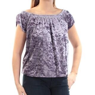 HIPPIE ROSE $19 Womens New 1155 Purple Velvet Off Shoulder Top L Juniors B+B