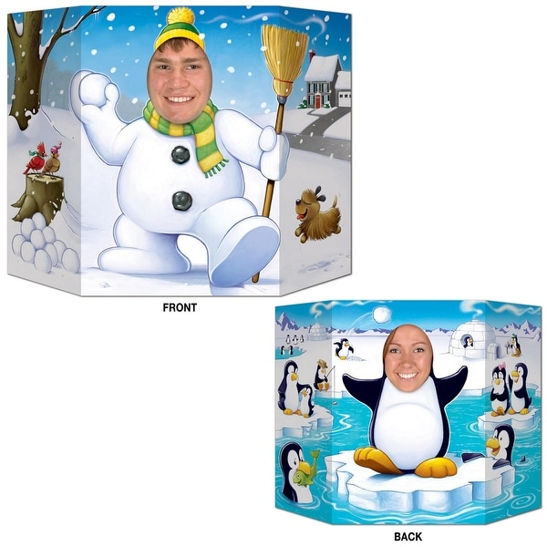 Pack of 6 Double-Sided Snowman and Penguin Stand-Up Cutout Photo Prop Christmas Decorations 36""