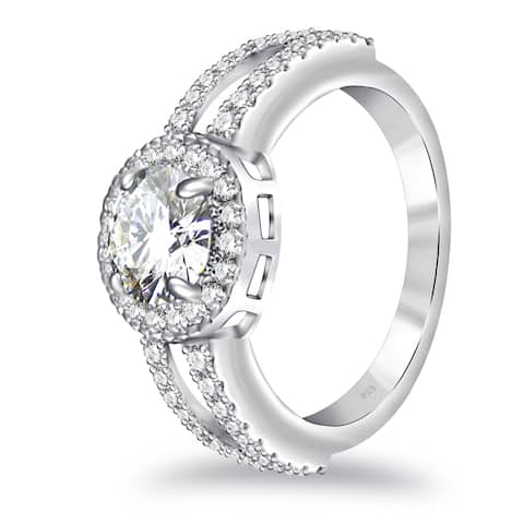 Moissanite Sterling Silver Round Halo Ring by Orchid Jewelry