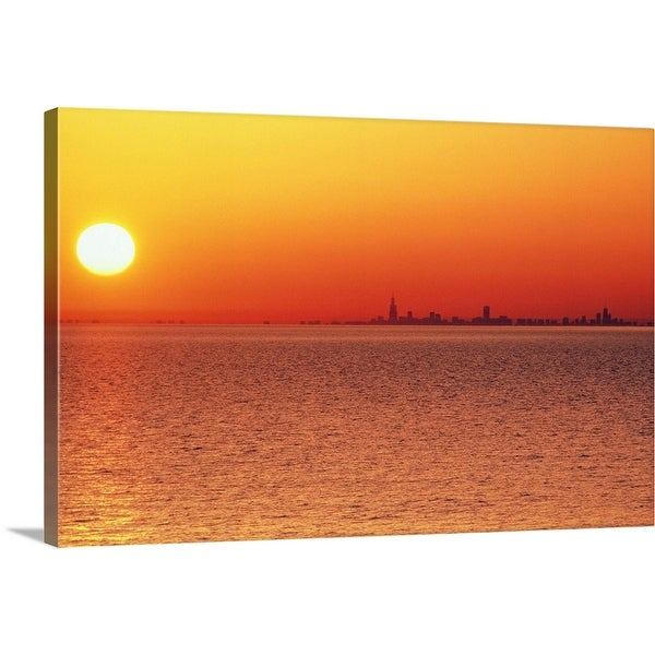 """Lake Michigan under an orange sunset, Chicago side"" Canvas Wall Art"
