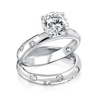 Bling Jewelry 925 Silver 2ct Round CZ Etoile Engagement Wedding Ring Set