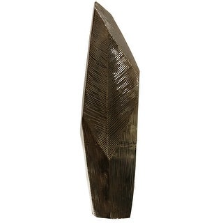 Harp and Finial HFA51099  Dario Ceramic Botanical Leaf Statue - Bronze Chrome