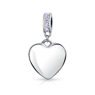 Bling Jewelry Imitation Alexandrite Crystal Heart Shaped Dangle Bead Charm .925 Sterling Silver
