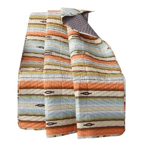 Neva Fabric Throw Blanket with Geometric Pattern, Multicolor