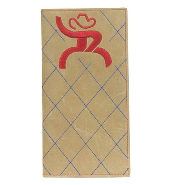 HOOey Western Wallet Mens Rodeo Roughy Logo Checkbook Brown - 3 1/2 x 3/4 x 7