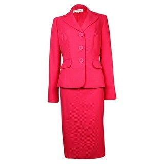 Evan Picone Women's Classic Time Weave Pattern Skirt Suit - Geranium