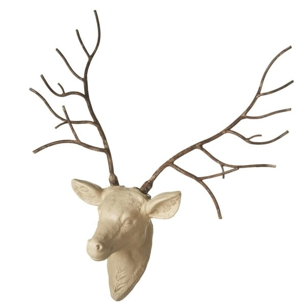 298 ivory and brown stag deer head wall mount with iron antlers