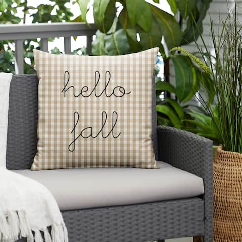 """Beige White Check """"Hello Fall"""" Indoor/ Outdoor Pillow, 18 in x 18 in"""
