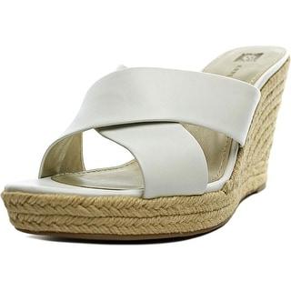 Anne Klein Waleigh Women Open Toe Leather White Wedge Heel