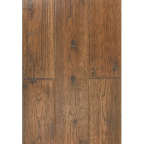 East West Furniture SP-7HH01 Interlocking Wood Floor Tiles - Engineered Hardwood Flooring for Indoor, Chestnut Finish
