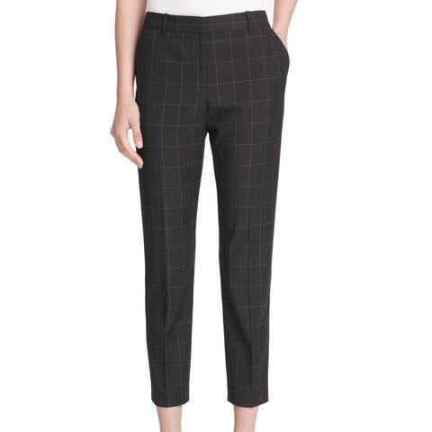 DKNY Women's Pants Black Size 14 Dress Windowpane Capri Print Career