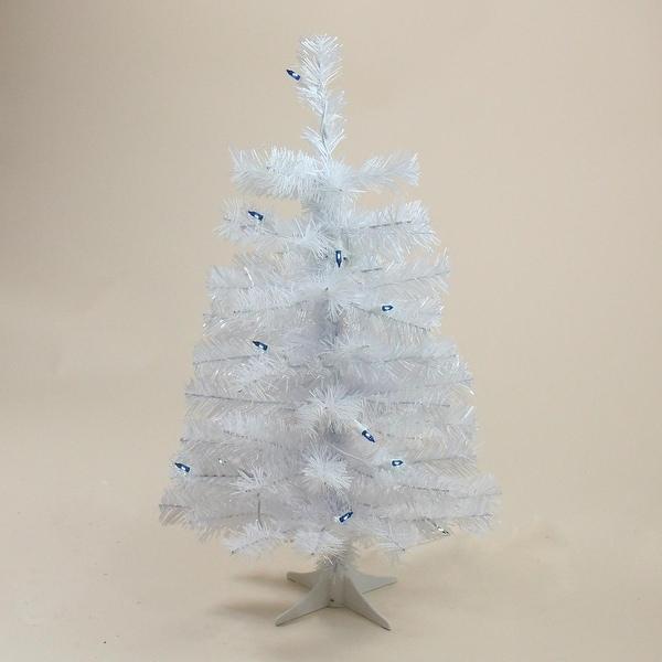 "2' x 12"" Pre-Lit Slim White Tinsel Artificial Christmas Tree - Blue Lights"