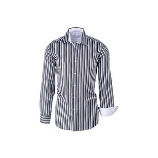 Black White and Gray Striped Modern Fit Sport Shirt by Equilibrio Sport
