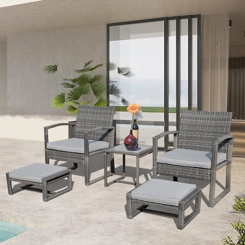 5 Piece Patio Conversation Set Wicker Chairs and Ottomans