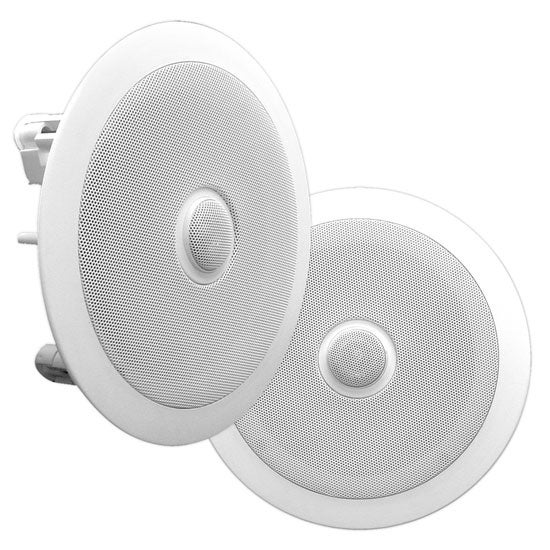 In-Wall / In-Ceiling Dual 6.5-inch Speaker System, Directable Tweeter, 2-Way, Flush Mount, White