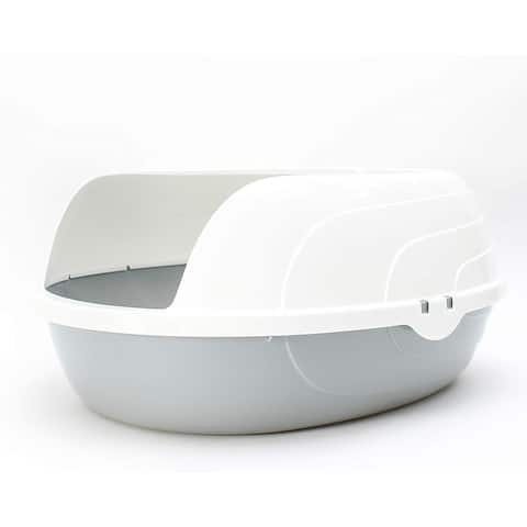 Penn-Plax Open Top Litter Box for Cats and Kittens - Helps Minimize Cleanup of Indoor Kitty Messes - Modern White & Grey